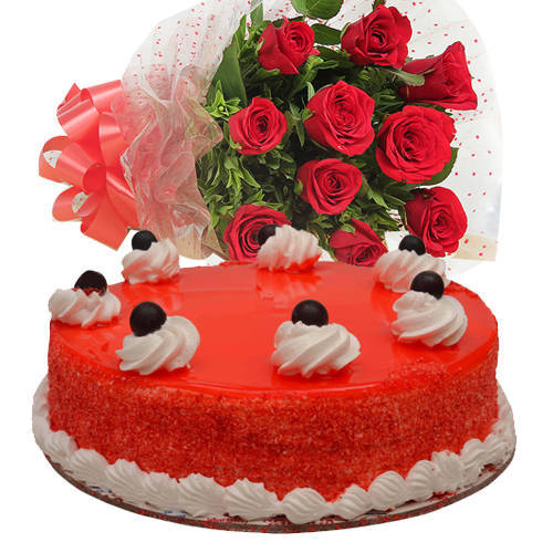 Deliver Online Bouquet of Red Roses with Red Velvet Cake