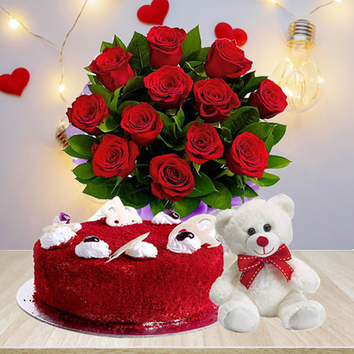 Send Combo of Red Roses Bouquet with Velvet Cake N Teddy
