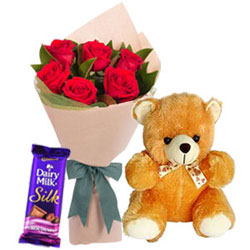 Delightful Red Roses Bouquet with Teddy N Cadbury Silk