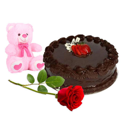 Sending Chocolate Cake with Teddy N Red Rose