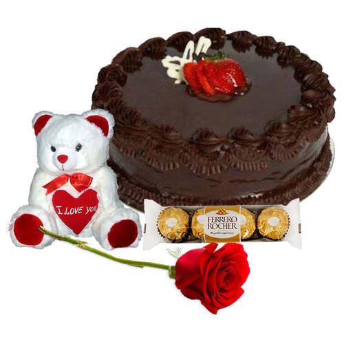 Book Online Chocolate Cake with Teddy, Ferrero Rocher N Red Rose