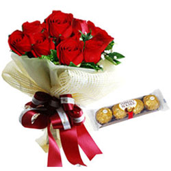 World Class Ferrero Rocher with Red Roses Bouquet
