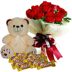 Radiant Red Roses Bouquet with Cadbury 5 Star N Teddy