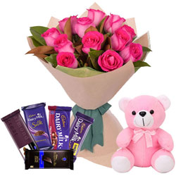 Soft  N  Cute Small Teddy with Pink Roses Bouquet N Mixed Cadbury Chocolates