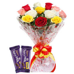 Bursting Dairy Milk Crackle with Bouquet of Colorful Roses