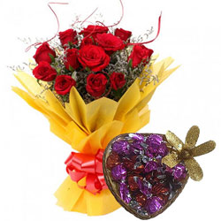 Lovingly Made Handmade Chocolate with Red Roses Bouquet