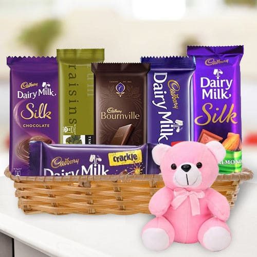 Gift Basket of Chocolates N Teddy