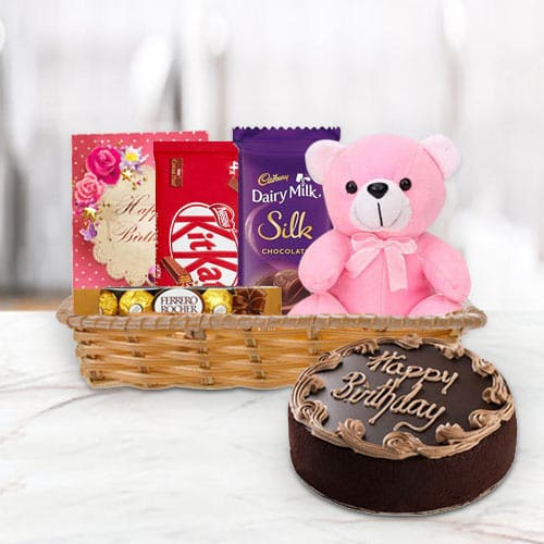 Gift Basket of Birthday Gifts N Chocolate Cake