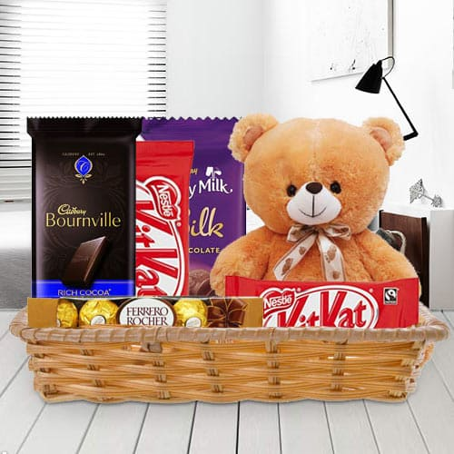 Gift Basket of Delightful Chocolates with Teddy