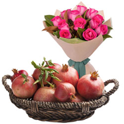 Buy Pink Roses Bouquet with Pomegranates in Basket