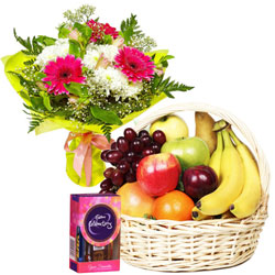 Shop for Chocolate Pack with Fruits Basket and Floral Bouquet