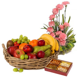 Shop for Pink Carnations Basket with Fresh Fruits Basket and Assorted Dry Fruits