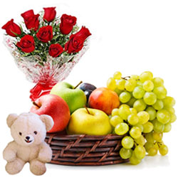 Sending Teddy with Roses Arrangement and Fruits Basket