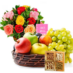 Order Assorted Fruits Basket with Dry Fruits N Flowers Arrangement