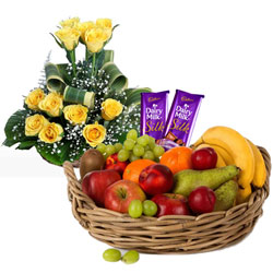 Buy Dairy Milk Silk with Roses Arrangement and Fruits Basket