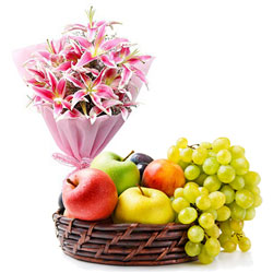 Shop for Lilies Bouquet with Fresh Fruits Baskets