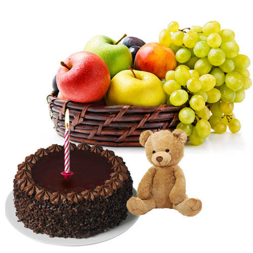 Buy Chocolate Cake with Fruits Basket, Teddy and Candles