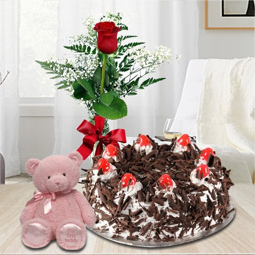Extraordinary 1 Lb Black Forest Cake with Single Red Rose and a Small Teddy Bear