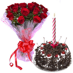 Sending Black Forest Cake with Candles and Red Roses Bouquet