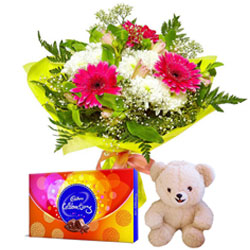 Shop for Flowers Bouquet with Small Teddy and Cadbury Celebrations Pack