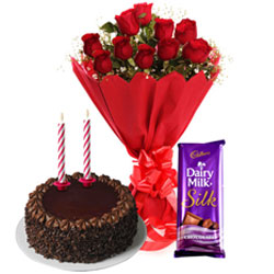 Online Cadbury Dairy Milk Silk, Chocolate Cake with Candles and Roses Bouquet