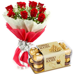 Order Ferrero Rocher Chocolates with Red Roses Bouquet