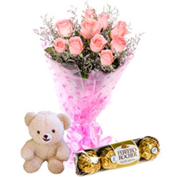 Sending Teddy with Roses Bouquet and Ferrero Rocher