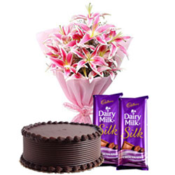 Sending Dairy Milk Silk Chocolates with Lilies Bouquet and Chocolate Cake