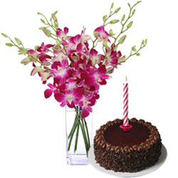 Deliver Chocolate Cake and Orchids in Vase with Candles
