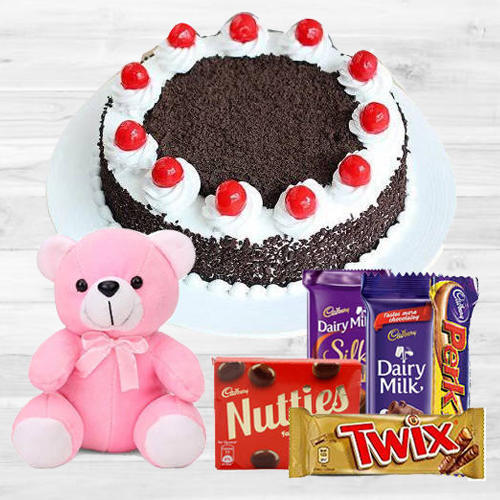 Book Online Black Forest Cake with Assorted Cadbury N Teddy