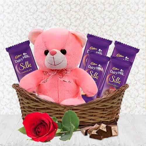 Sending Gift Basket of Assortments N Teddy