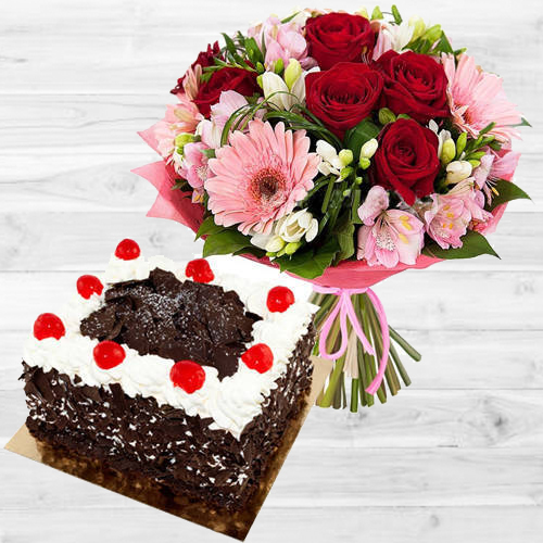 Cheerful Multi-Colored Flowers Bouquet with 1 Lb Black Forest Cake