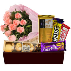 Deliver Bunch of Pink Roses with Chocolates Hamper