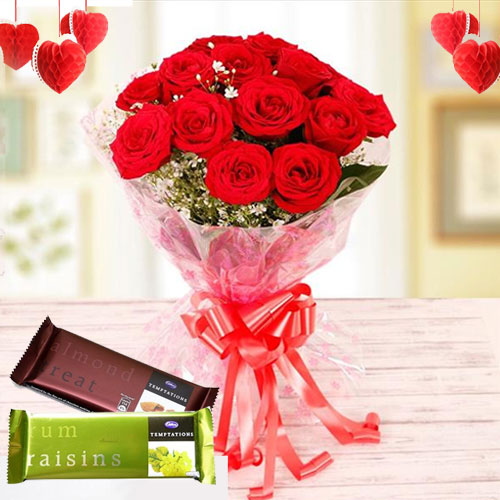 Online Bouquet of Red Roses with Cadbury Temptations