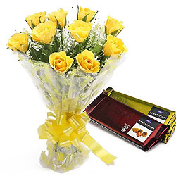 Sending Yellow Rose Bouquet with Chocolates