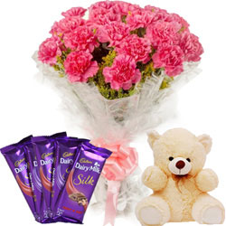 Buy Bouquet of Carnations with Teddy N Chocolates