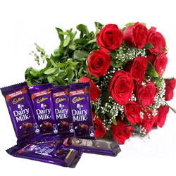 Buy Gift of Chocolates N Red Rose Bouquet