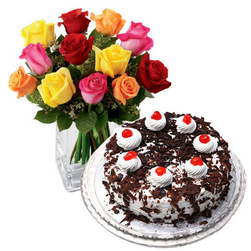 Shop Online Mixed Roses with Black Forest Cake from Taj or 5 Star Bakery