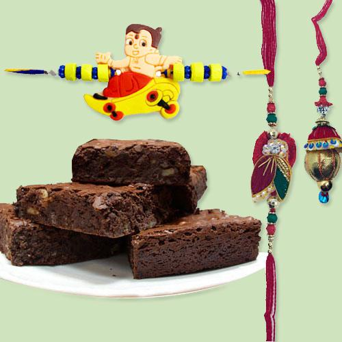 Brownies with Family Set Rakhi