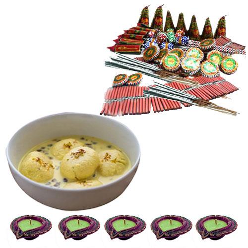 Tasty Ras malai, Fire Crackers n Diyas