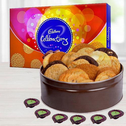 Diwali Gift Hamper of Cookies, Chocolates nd Diyas
