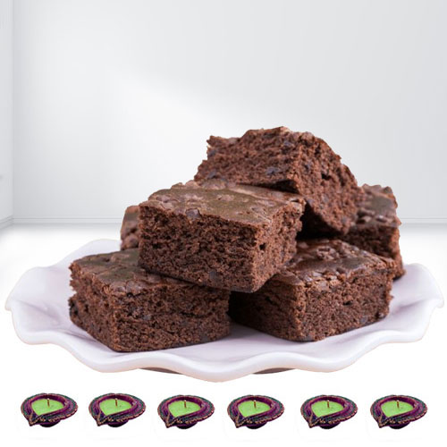 Delicious Brownies N Diya for Diwali