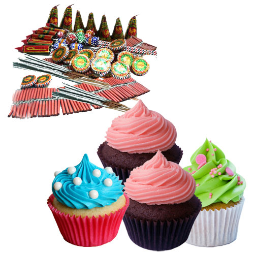 Delicious Cup Cakes nd Diwali Crackers