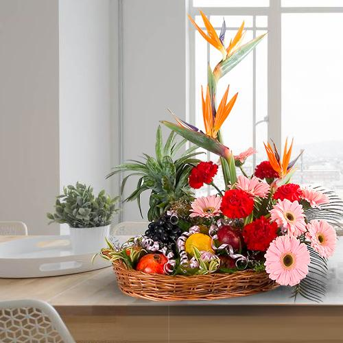 Send Fresh Fruits Basket with Mixed Flowers
