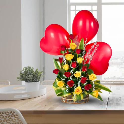 Buy Red Heart Shaped Balloons with Colorful Roses