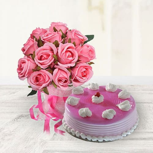 Order Strawberry Cake with Pink Roses Bouquet