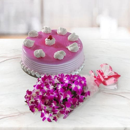 Buy Cakes n Orchids Combo for Anniversary
