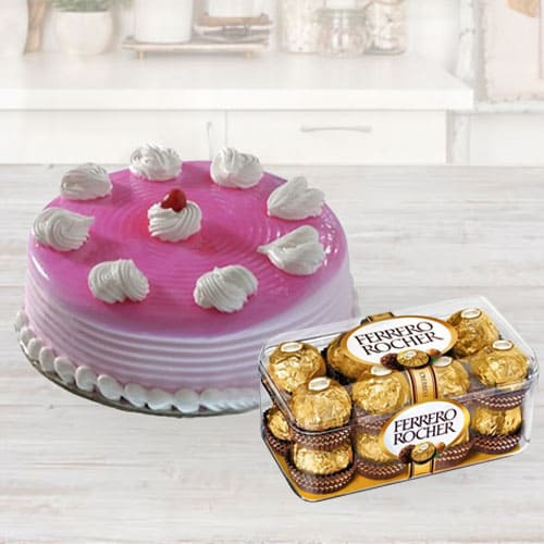 Deliver Strawberry Cake with Ferrero Rocher Chocolate for Birthday
