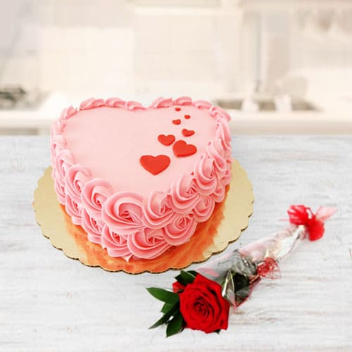 Buy Heart Shaped Strawberry Cake n Red Rose