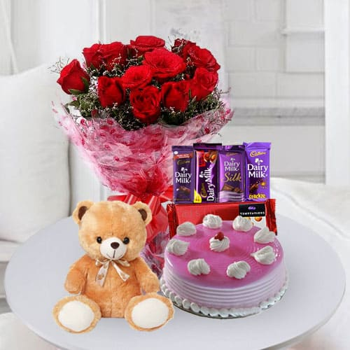 Deliver Cake with Chocolates, Teddy n Flowers for Birthday